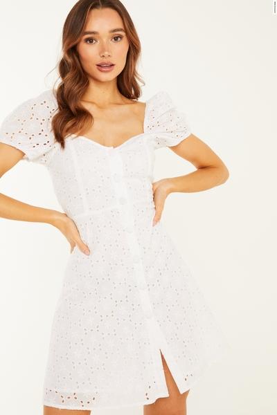 White Broderie Skater Dress